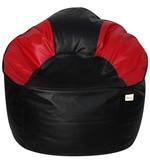 Muddha XXXL Bean Bag with Beans in Black & Red Colour