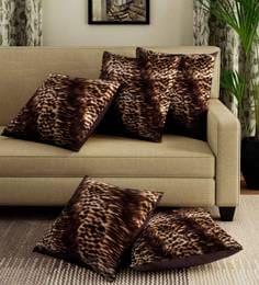 Multicolor Velvet Leopard Digital Print Set Of 5 Cushion Covers