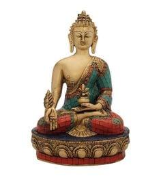 Multicolour Brass Antique Hand Made Buddha Brass Statue Turquoise Tibet Nepal Decor