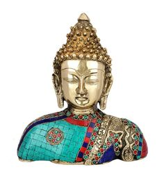 Multicolour Brass Indian Handmade Fine Inlay Lord Buddha Bust Idol Home Office Decor Statue