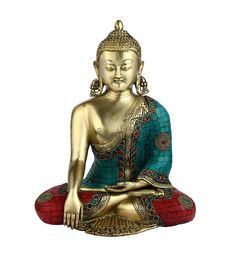 Multicolour Brass Long Ear Kundal Buddha Sitting Indian Figurine Home Decor Buddhist Art