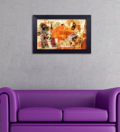 Multicolour Canvas Cloth Modern Art Gerua Digital Art Print