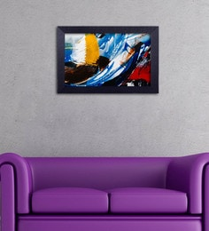 Multicolour Canvas Cloth Modern Art In Shades Of Blue Digital Art Print
