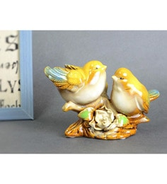 Multicolour Ceramic Extremely Cute Pair Of Love Birds Showpiece