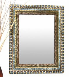 Multicolour Glass And MDF Rectangular Mosaic Mirror