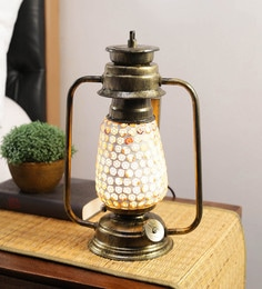 Multicolour Glass Antique Mosaic Lantern Table Lamp By New Era