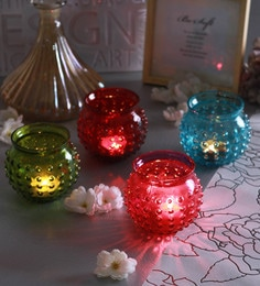 Multicolour Glass Bubble Doom Tea Light Holders  - Set Of 4