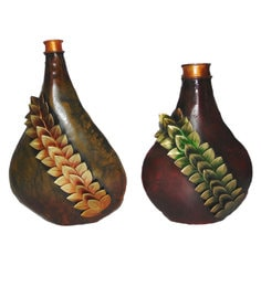 Multicolour Iron Handmade Decorative Leaf Flower Vases - Set Of 2