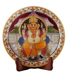 Multicolour Marble Lord Ganesha Showpiece Plate With Stand