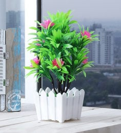 Multicolour Plastic Artificial Plant 5 Branched With Large Green Leaves And Large Pink Flowers