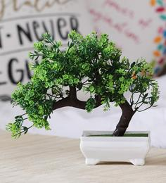 Multicolour Plastic Artificial Plant Bent With Green Leaves And Green Flowers