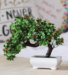 Multicolour Plastic Artificial Plant Bent With Green Leaves And Red Flowers