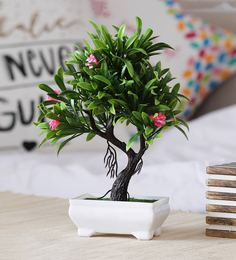 Multicolour Plastic Artificial Plant Y Shaped With Large Green Leaves And Pink Roses