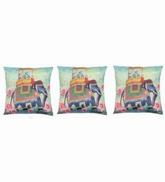 Multicolour Polyester 16x16 Inch Cushion Covers - Set Of 3