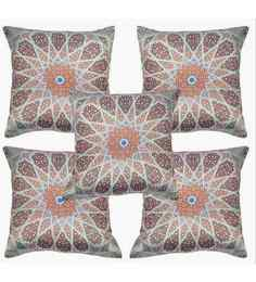Multicolour Polyester 16x16 Inch Cushion Covers - Set Of 5 - 1622873