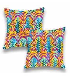 Multicolour Satin 16x16 Inch Cushion Covers - Set Of 2 - 1661121