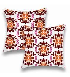 Multicolour Satin 16x16 Inch Cushion Covers - Set Of 2 - 1661206
