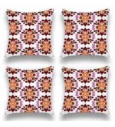 Multicolour Satin 16x16 Inch Cushion Covers - Set Of 4 - 1661070