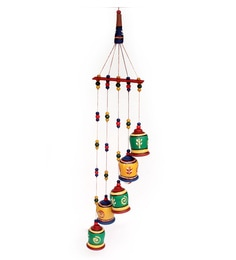 Multicolour Terracotta Bell Wall Hanging Wind Chime