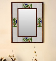 Multicolour Wood & Ceramic Mirror By Neerja Blue Pottery - 1658798
