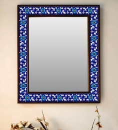 Multicolour Wood & Ceramic Mirror By Neerja Blue Pottery - 1658821
