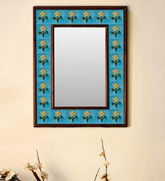 Multicolour Wood & Ceramic Mirror By Neerja Blue Pottery - 1658794