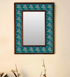 Multicolour Wood & Ceramic Mirror By Neerja Blue Pottery - 1658800