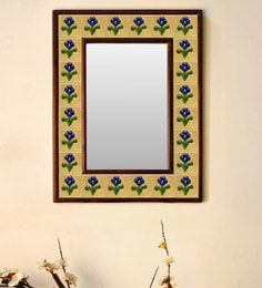 Multicolour Wood & Ceramic Mirror By Neerja Blue Pottery - 1658803