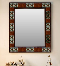 Multicolour Wood & Ceramic Mirror By Neerja Blue Pottery - 1658827