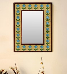 Multicolour Wood & Ceramic Mirror By Neerja Blue Pottery - 1658804