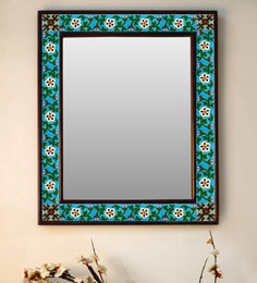 Multicolour Wood & Ceramic Mirror By Neerja Blue Pottery - 1658823