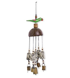 Multicolour Wood & Copper Handmade & Hand-Painted Parrot Wind Chime With Kutchh Bells