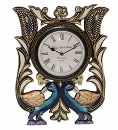multicolour wood u0026 glass 12 x 2 x 18 inch vintage double peacock shape wall clock