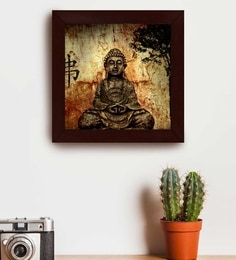 Buy Multicolour Wood Beautifully Printed Buddha Wall Art Painting By
