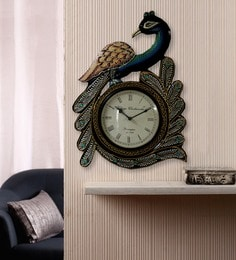 Multicolour Wooden & Brass Vintage Peacock Shape 11 X 2 X 18 Inch Wall Clock
