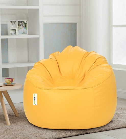 Buy Mudda Xxxl Bean Bag Without Beans Chair Cover In Yellow Colour