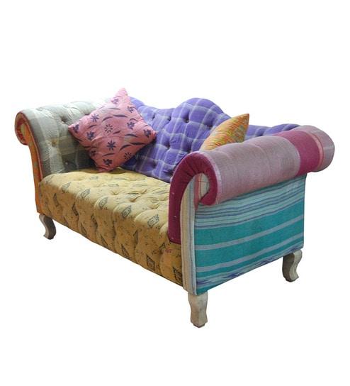 Multi Fabric Two Seater Sofa