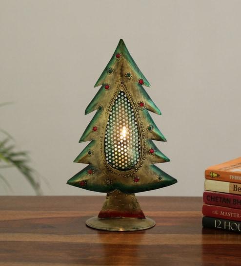 Christmas Tree In India.Multicolor Iron Golden Xmas Tree Tealight Showpiece By Craftpreneurs India