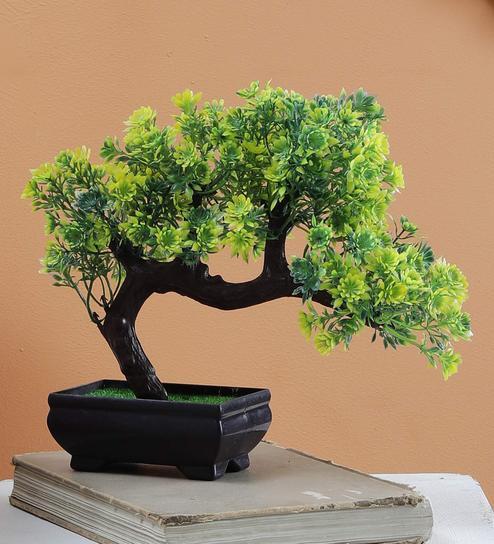 Buy Multicolor Plastic Bent Bonsai Artificial Tree With Green