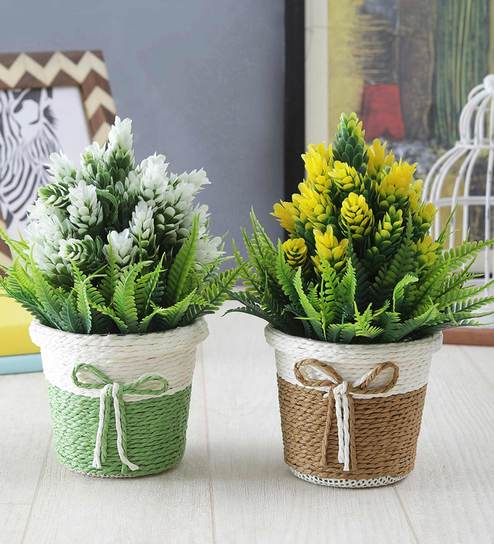 buy multicolor plastic plants with pot for living room set of 2 by rh pepperfry com best fake plants for living room silk plants for living room