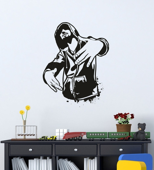d449f8996986 Buy Black PVC Vinyl Attitude Boy Wall Sticker By DecorKafe Online - People  & Places Wall Stickers - Wall Stickers - Wall Art - Pepperfry Product