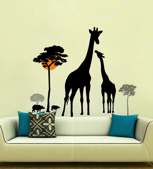 Multicolour PVC Vinyl giraffe Animals Wall Sticker By DecorKafe