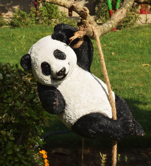 Multicolor Resin Climbing Rope Panda Garden Ornament By Wonderland