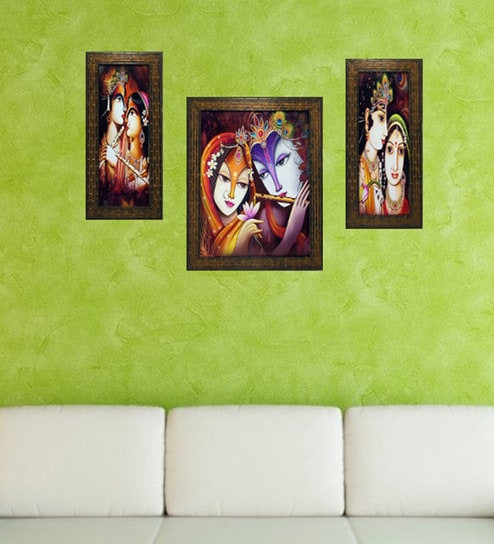 Multicolor Set Of 3 Framed Wall Hanging Art Prints By Indianara