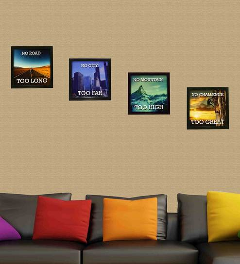 Multicolor Set Of 4 Framed Wall Hanging Art Prints By Indianara Online Slogan Posters Pepperfry Product
