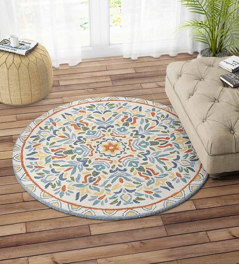 Multicolor Suzani Hand Tufted Carpet Round 4X4 Feet by Imperial Knots
