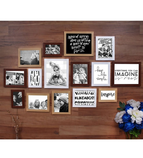 Multicolor Synthetic Wood Colorful Memories Set Of 15 Individual Photo  Frame (3Pc8X10,8Pc6X8, 4Pc4X6 Inch) By Art Street