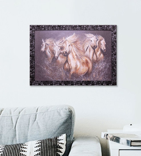 Buy Multicolor Wood Five Horse Run Gallop Framed Art Print By Skey ...