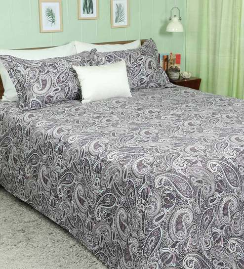Buy Multicolour 100 Cotton Paisley Design Super King Bed Sheet With