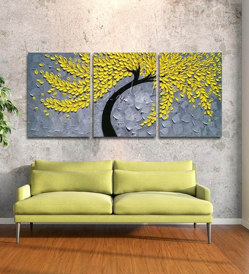Multicolour 3 Pieces Framed Panel Wall Art Palette Knife Hand Painted Yellow Flowerwall By 999 Online Fl Paintings